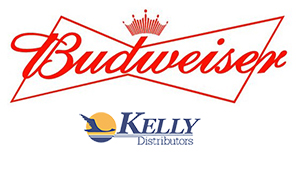 Budweiser logo and Kelly Distributors